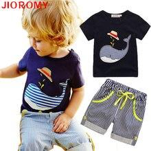 2017 Vente de Nouveaux Enfants Vêtements Garçons Baleine D'été T-shirt et Short Rayé Sport Costume Marque Enfants Garçon Bébé Enfants tenues