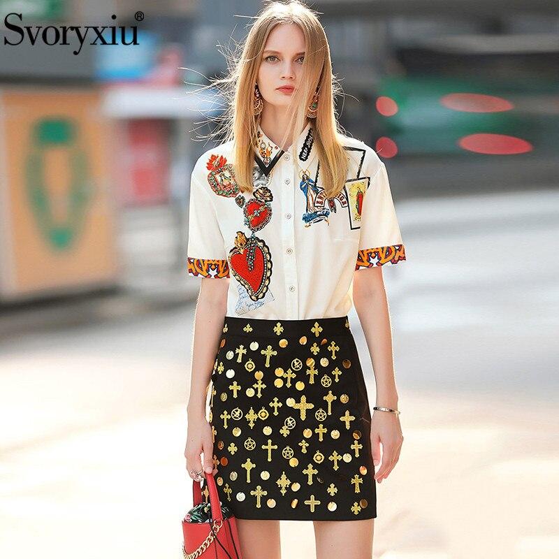 Kadın Giyim'ten Kadın Setleri'de Svoryxiu kadın Yaz Pist Etek Takım Elbise Kısa Kollu Madonna Baskı Bluz + Altın Çizgi Nakış Siyah Etek Iki Parçalı seti'da  Grup 1