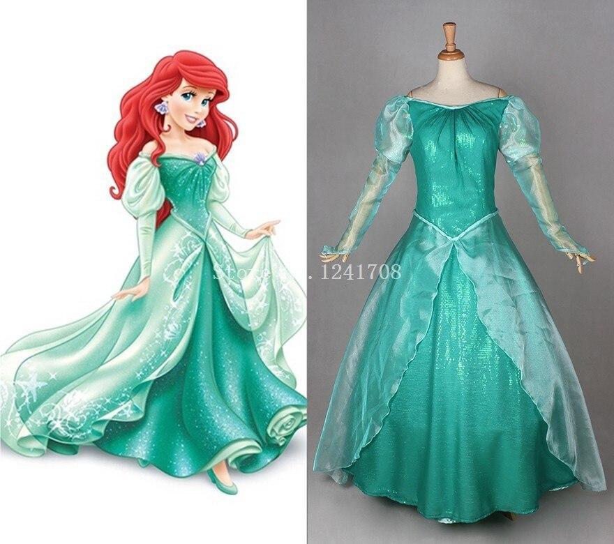 Взрослых принцесса Ариэль платье Зеленый Ариэль Русалочка Косплэй костюм костюмы на Хэллоуин для женщин индивидуальные