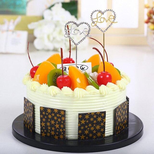 1pc Creative Heart Love Bling Diamond Crystal Insert Card Cake