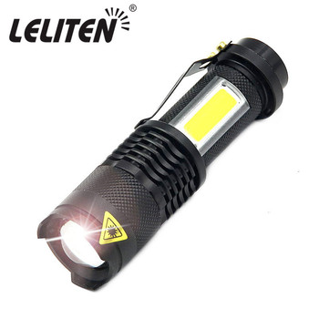 3800LM XML-Q5 + COB LED latarka przenośny mini ZOOM torchlatarka używać AA 14500 bateria wodoodporna w życie oświetlenie latarnia tanie i dobre opinie Latarki Czarny Stop aluminium Odporny na wstrząsy Samoobrona twarde światło 2-4 pliki 100-200 m Regulowane 14500 AA