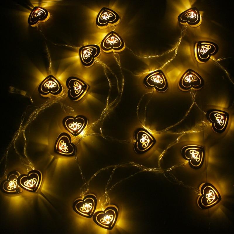 3 v battery 2.5 M 10 led star light Love wooden decoration lamp lights Led twinkle light room festival