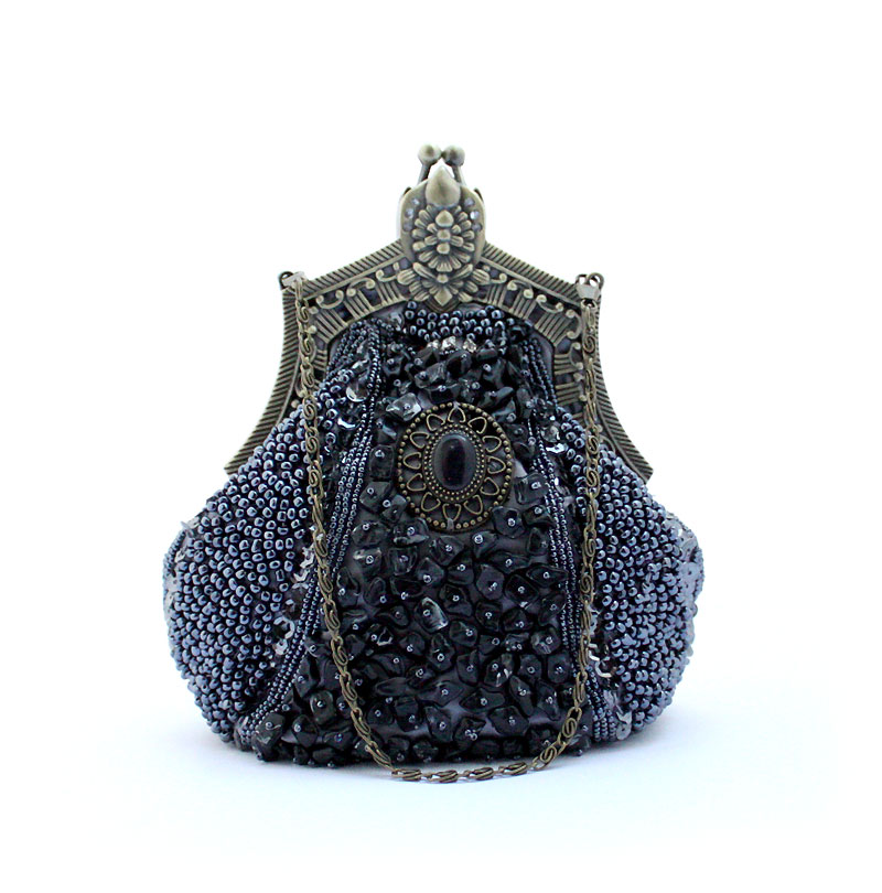 ФОТО New Arrival Gray Ladies' Beaded Sequined Banquet Handbag Party Bridal Evening Bag Purse Makeup Bag Free Shipping 03321-C