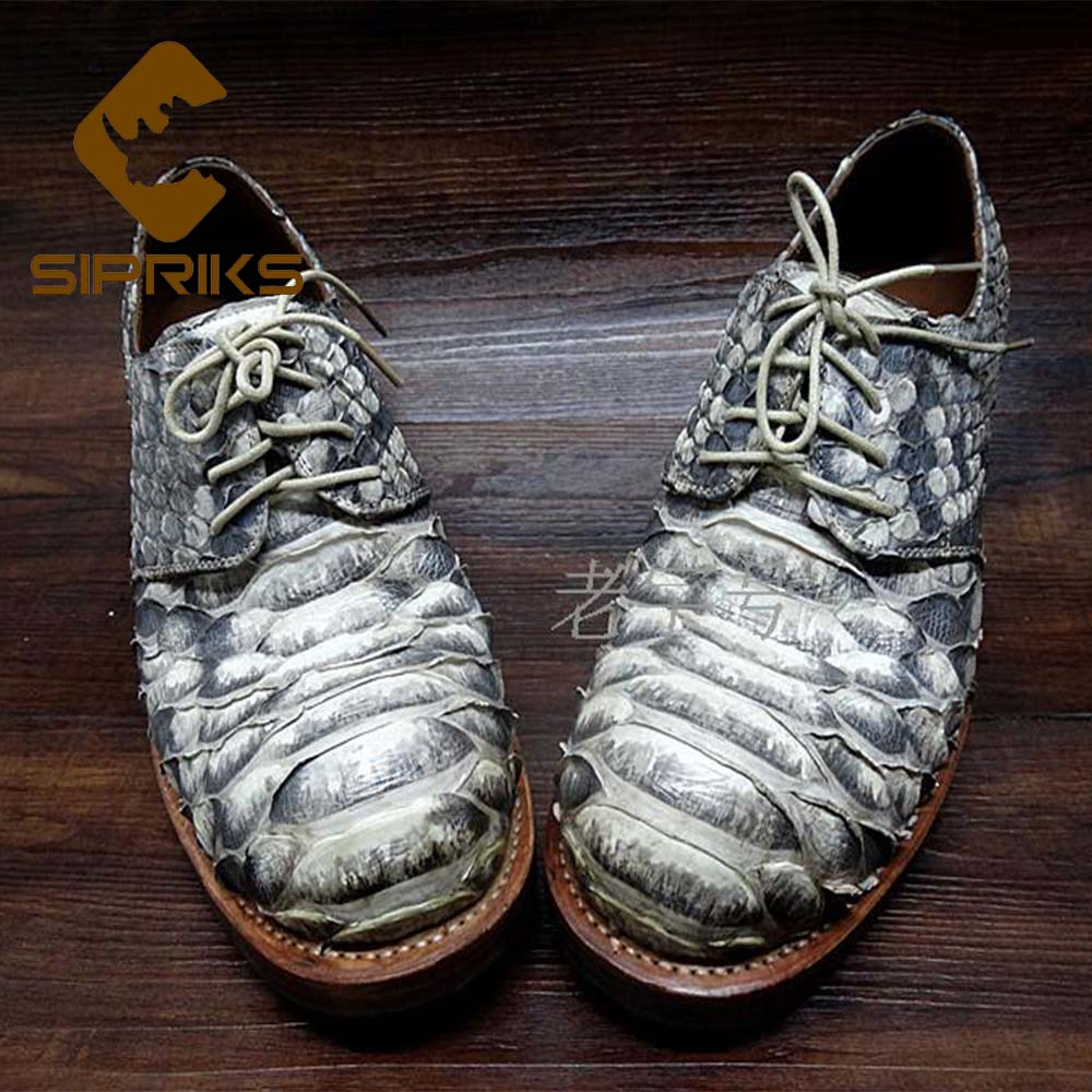 SIPRIKS Mens Goodyear Welted Shoes Italian Men Python Skin Dress Shoes Hipster Snakeskin Gents Suit Shoes Mens Animal Skin Shoes