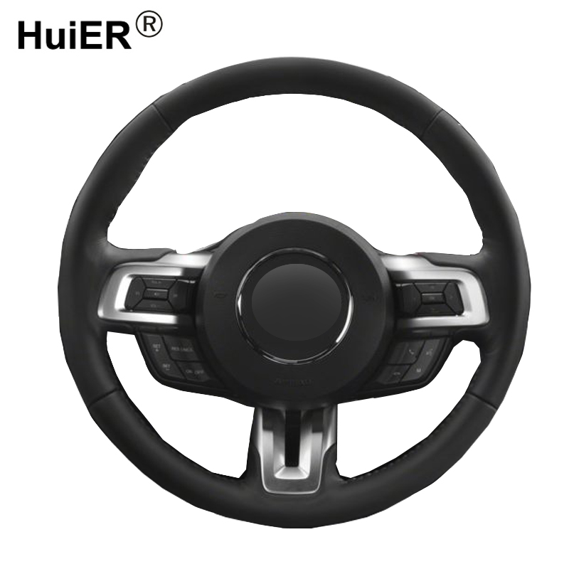 HuiER Hand Sewing Car Steering Wheel Cover Wear-Resistant Car Styling Black Leather For Ford Mustang Ford Mustang GT Ford GT