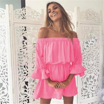 цена на Stylish Women dress Summer Ruffle Off Shoulder Beach solid Evening three quarters sleeve cotton Party Mini Dresses one pieces