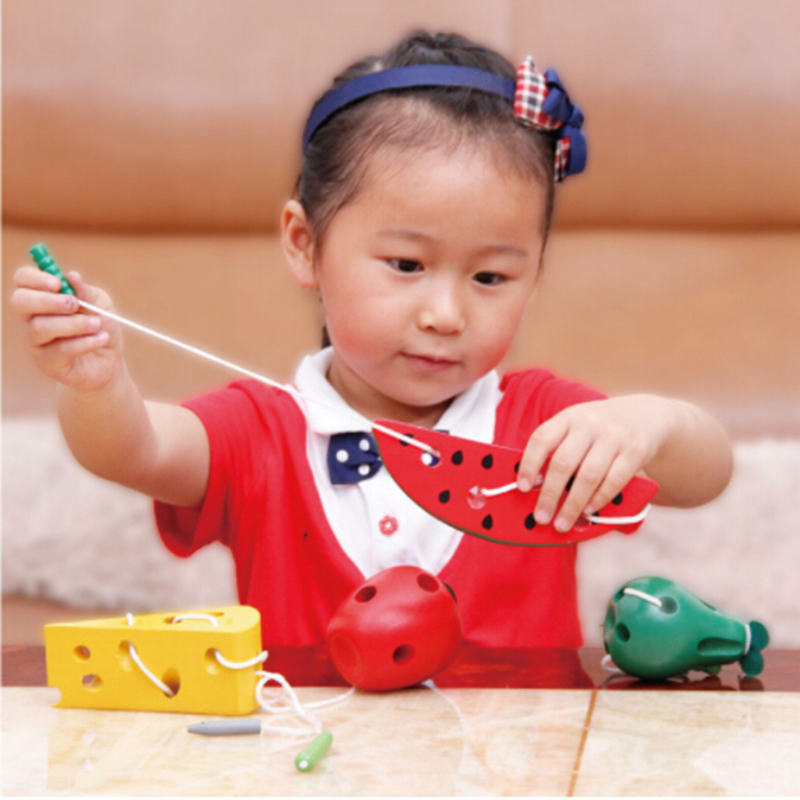 Image 2 - Montessori Toys Fun Wooden Toy Worm Eat Fruit Apple pear cheese Early Learning Teaching Aid Baby Kids Educational Toy Gifts-in Puzzles from Toys & Hobbies