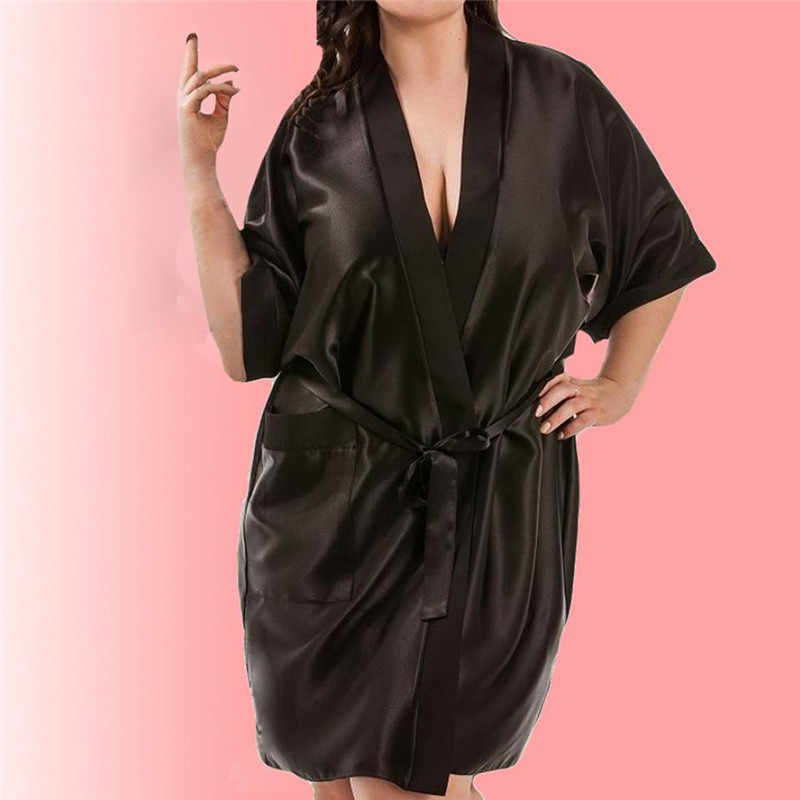 48debd245f ... Women Big Size Satin Kimono Robe Sexy Short Sleeve Silk Bride  Bridesmaid Wedding Robes Woman Short ...