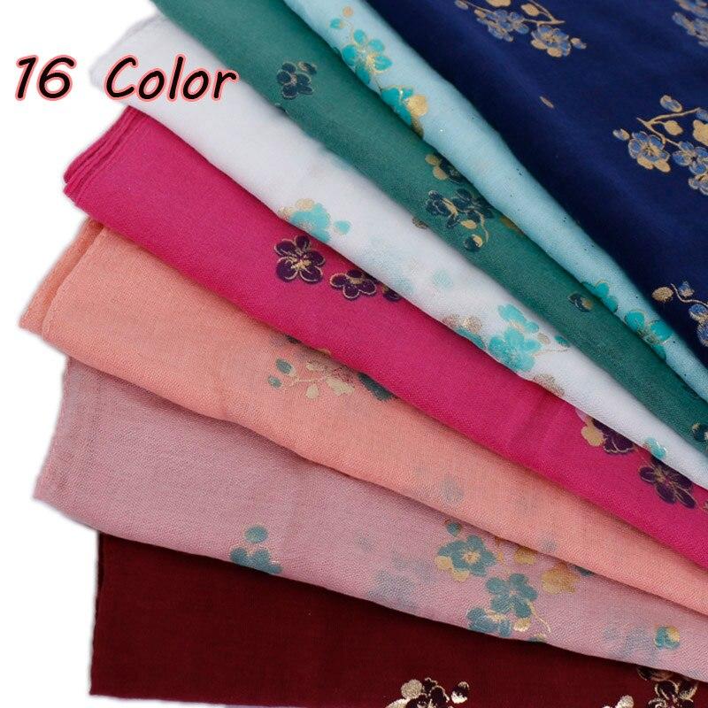 女性グリッター花ヒジャーブスカーフ綿イスラム教徒きらめき花スカーフラップ軽量ヘッドバンドショール 10 ピース/ロット 16 色  グループ上の アパレル アクセサリー からの レディース スカーフ の中 1