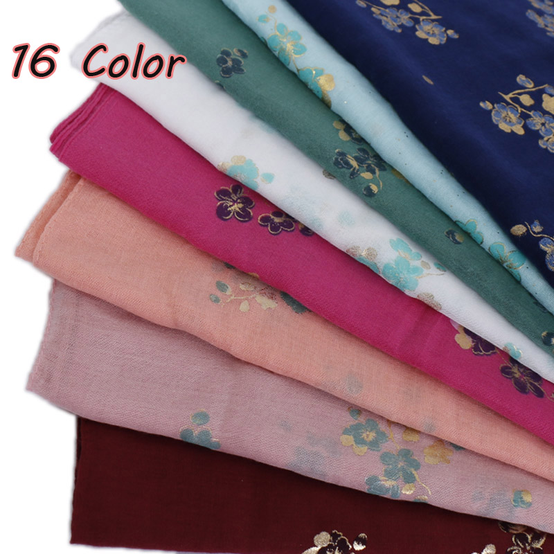 women glitter floral hijab   scarf   cotton muslim shimmer flower   scarves     wraps   lightweight headband shawls 10pcs/lot 16 color