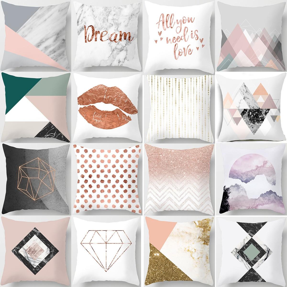 Nordic Simple Pink Marble Geometric Cushion Cover Peach Velvet Decorative Throw Pillowcase Home Decor Living Room Decoration-in Cushion Cover from Home & Garden
