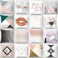 Nordic Simple Pink Marble Geometric Cushion Cover Peach Velvet Decorative Throw Pillowcase Home Decor Living Room Decoration