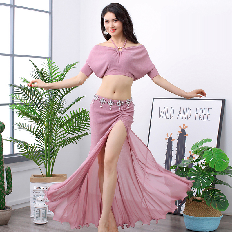 Exercise Shirt Costumes Split-Skirt Belly-Dance Competition Silk Silver Mesh of Bat-Sleeve