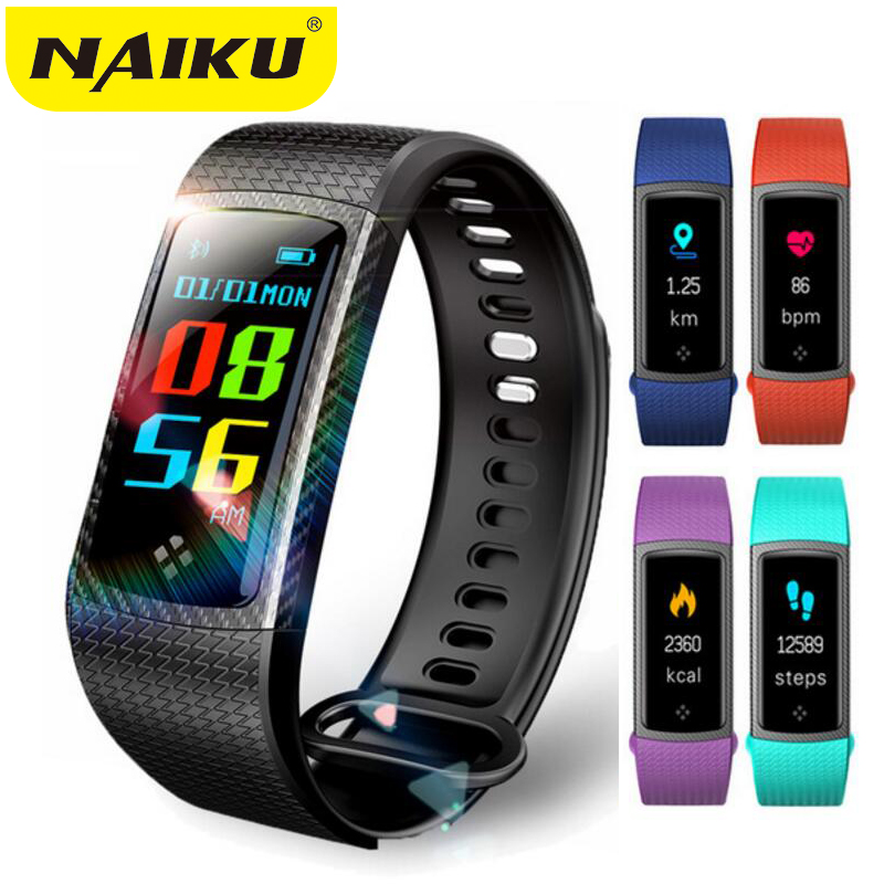 NAIKU Wristbands Smart bracelet Color LCD Screen Fitness Bracelet IP67 Waterproof Smart Band Heart Rate for IOS Android Phone