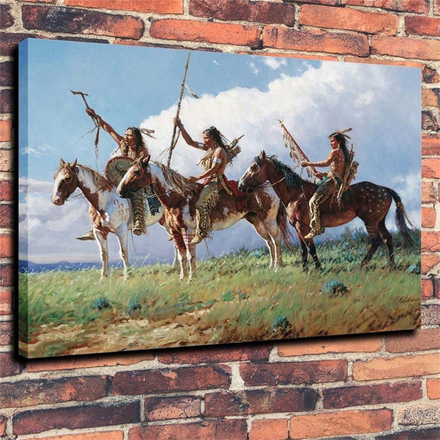 Martin Grelle Native American Indian Life Canvas Painting -6690