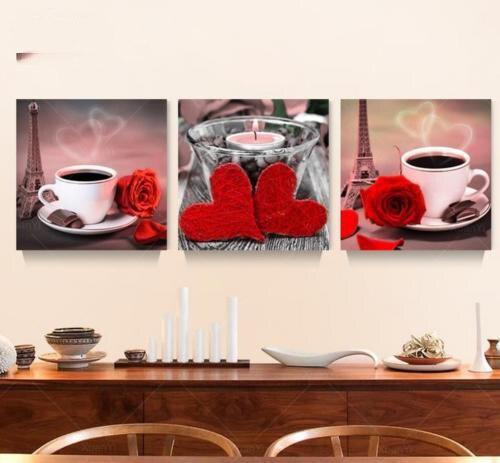 3 pannello stampato classica still life caff rosa pittura a olio da cucina cuadros immagine della parete della tela per living