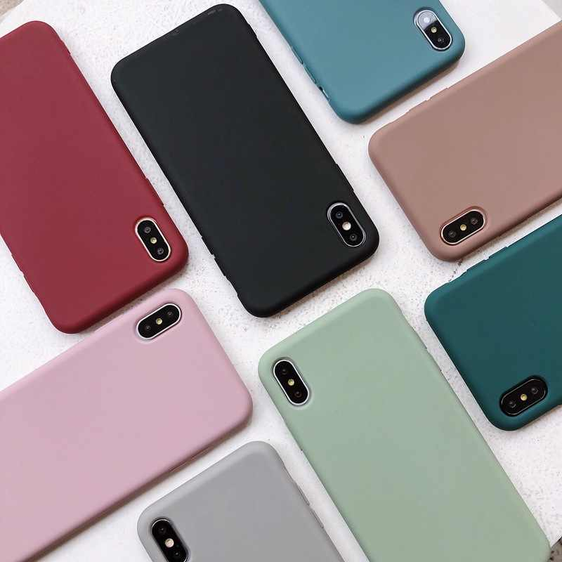 Solid Color Silicone Matte Cases Coque For iphone X XS Max XR 6 6S 7 8 Plus Candy Color Soft Simple Phone Case Fundas Capa Etui
