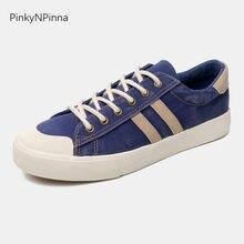 0036564dba 2019 Otoño de moda de los hombres zapatillas de deporte planas de denim con  cordones fondo blanco azul zapatos vulcanizados zapa.