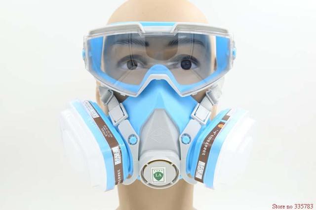 YIHU respirador máscara de gas de una sola pieza gafas de la cara llena de pesticidas de pulverización de pintura respirador fuego polvo protege la máscara de filtro de carbón