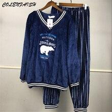Inverno grosso quente flanela pijamas conjuntos para mulher manga longa com decote em v coral veludo pijamas bonito dos desenhos animados mais SizeM 5XL