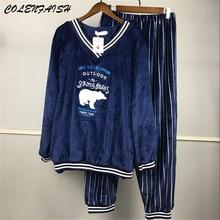 Kış kalın kışlık flanel pijama setleri kadınlar için uzun kollu v yaka mercan kadife pijama sevimli karikatür pijama artı SizeM 5XL