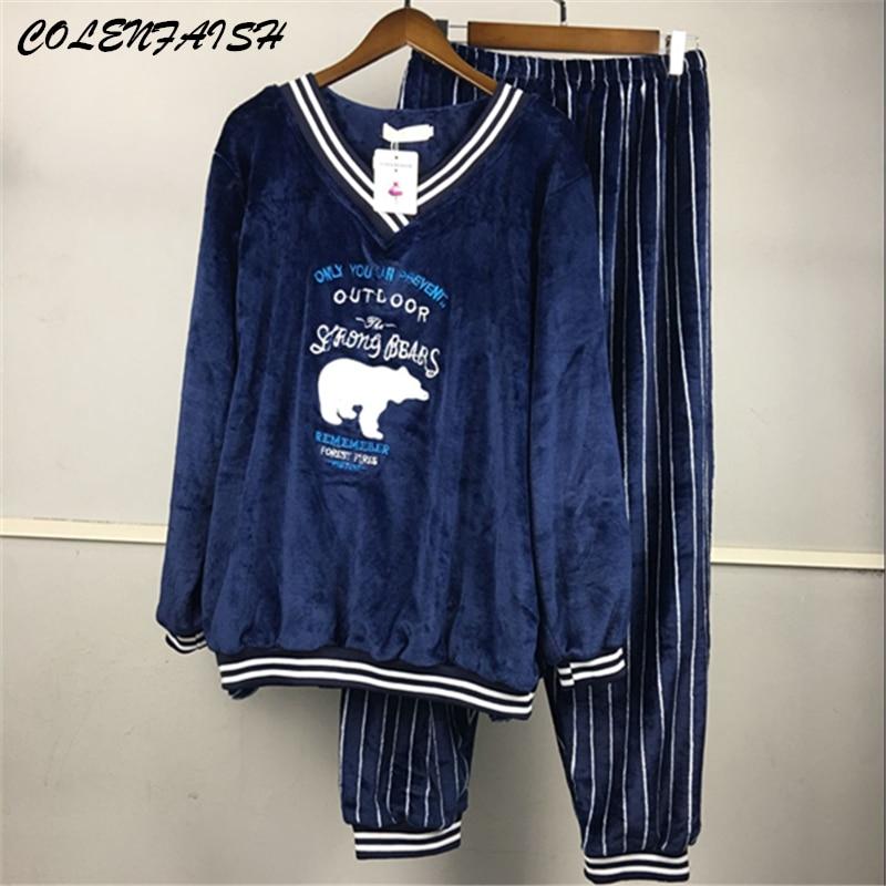 Winter Thick Warm Flannel   Pajamas     Sets   for Women Long Sleeve V-neck Coral Velvet Pyjama Cute Cartoon Sleepwear Plus SizeM-5XL