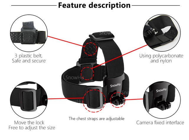 SnowHu for Head strap mount For Gopro Hero 8 7 6 5 4 3 Xiaomi yi 4K Action Camera  For Eken H9 SJCAM for Go Pro Accessories GP23