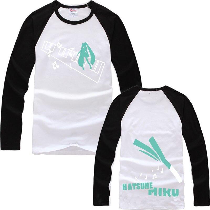 Fashion T shirts Pullover Hatsune Miku Scallion Cotton O Neck Raglan Sleeve Tee Shirts Long Sleeves Slim Casual Basic Tops Gift