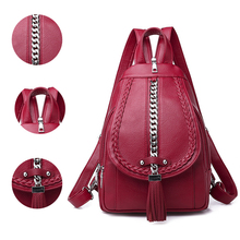 2019 Female Backpack Designer High Quality Leather Women Bag Fashion School Bags Girl Red Backpacks Travel Bags
