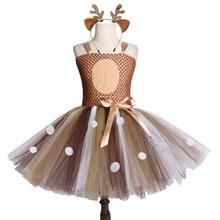 Girl Dress Christmas Deer Tutu With Headband Halloween Costume For Kid Girls Children Birthday Party Cosplay