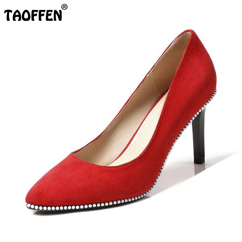 TAOFFEN Sexy Women Wedding High Heel Shoes Women Rivet Pointed Toe Thin Heel Pumps Office Lady Shoes Women Footwear Size 34-39 taoffen women high heels shoes women thin heeled pumps round toe shoes women platform weeding party sexy footwear size 34 39