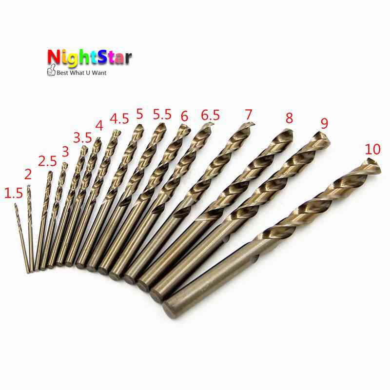 15pcs HSS-CO 1.5-10mm High Speed Steel M35 Cobalt Twist Drill Bit 40-133mm Length Wood Metal Drilling HSS CO Drill 15pcs set hss co 1 5 10mm high speed steel m35 cobalt twist drill bit wood metal working drilling power tools set mayitr