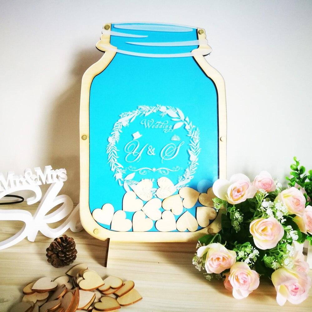 Personalized Customs Mason Jar wooden Frame Wedding Guest Book baby shower Wood dropbox alternative wood Heart