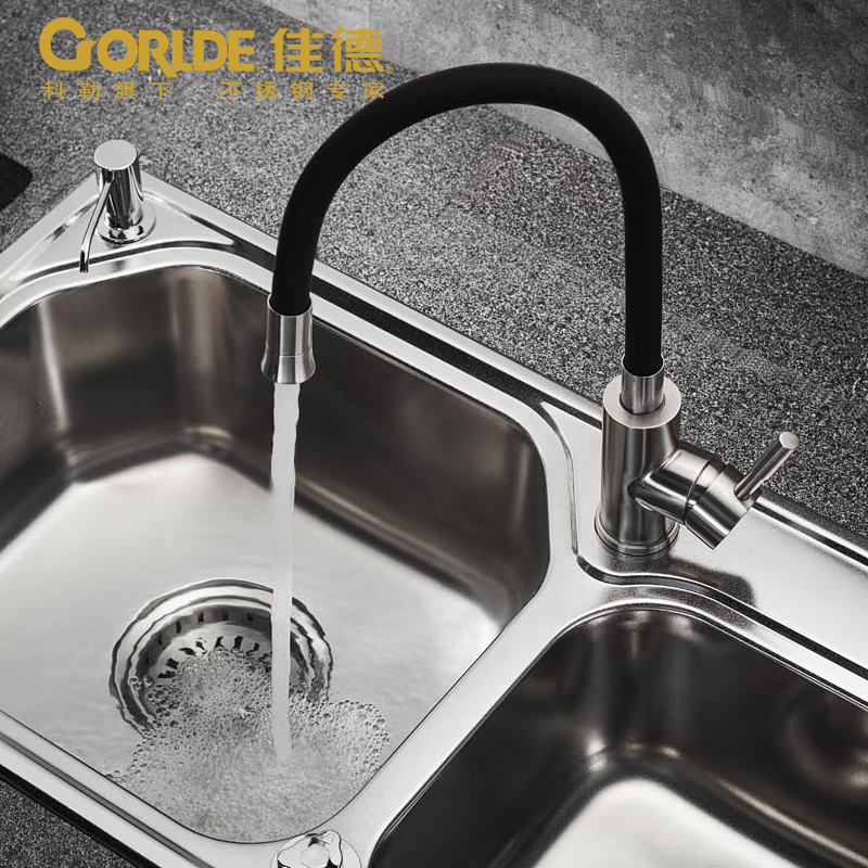 kitchen faucet, hot and cold 304 stainless steel sink faucet dish basin, universal head can rotate dish best served cold