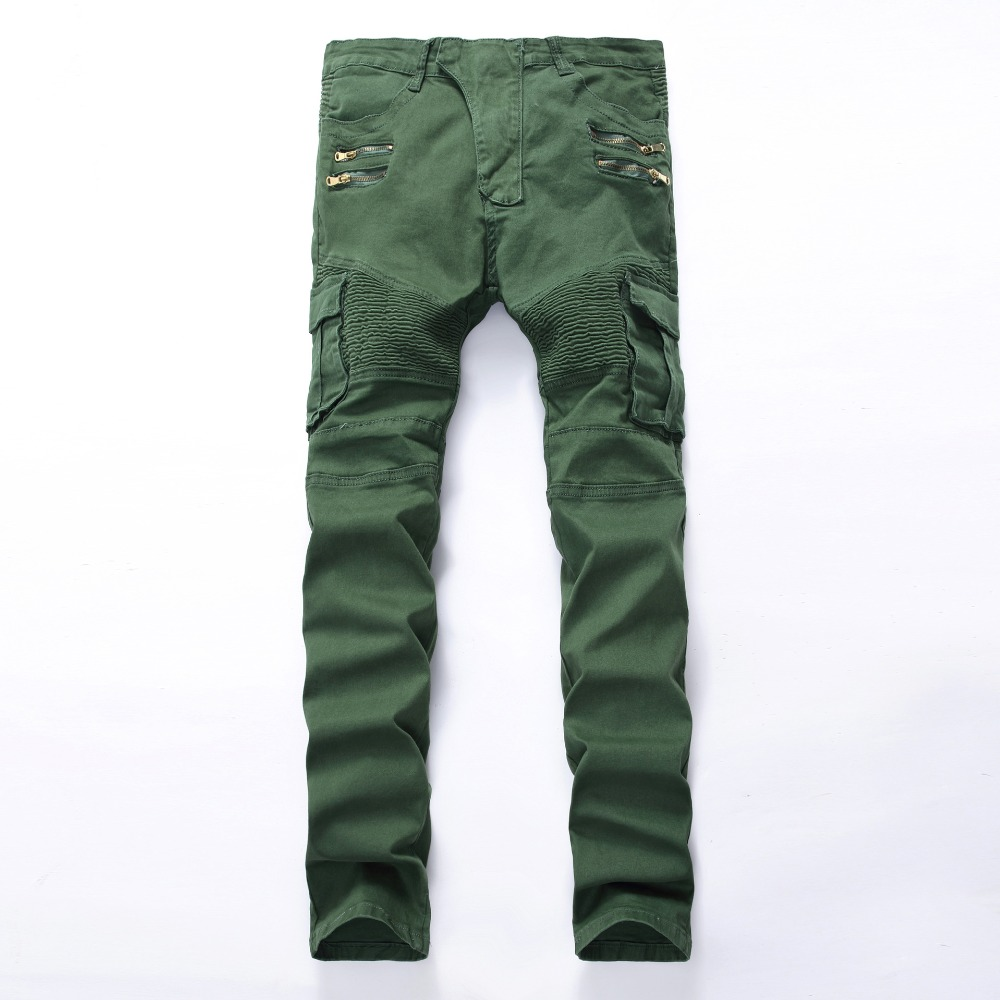 Italian Style Mens Denim Biker Jeans Cargo Pants With Side Pockets Army Green Trousers Jeans Men Brand Jean Slim Homme Size 42 men s cowboy jeans fashion blue jeans pant men plus sizes regular slim fit denim jean pants male high quality brand jeans