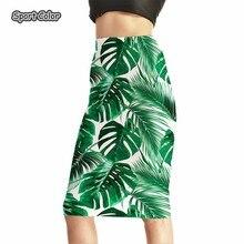 3D зеленый лист Для женщин пикантные Высокая Талия Миди-юбки теннис Боулинг юбки тонкий эластичный Популярные для девочек Женская одежда для вечеринок S-4XL