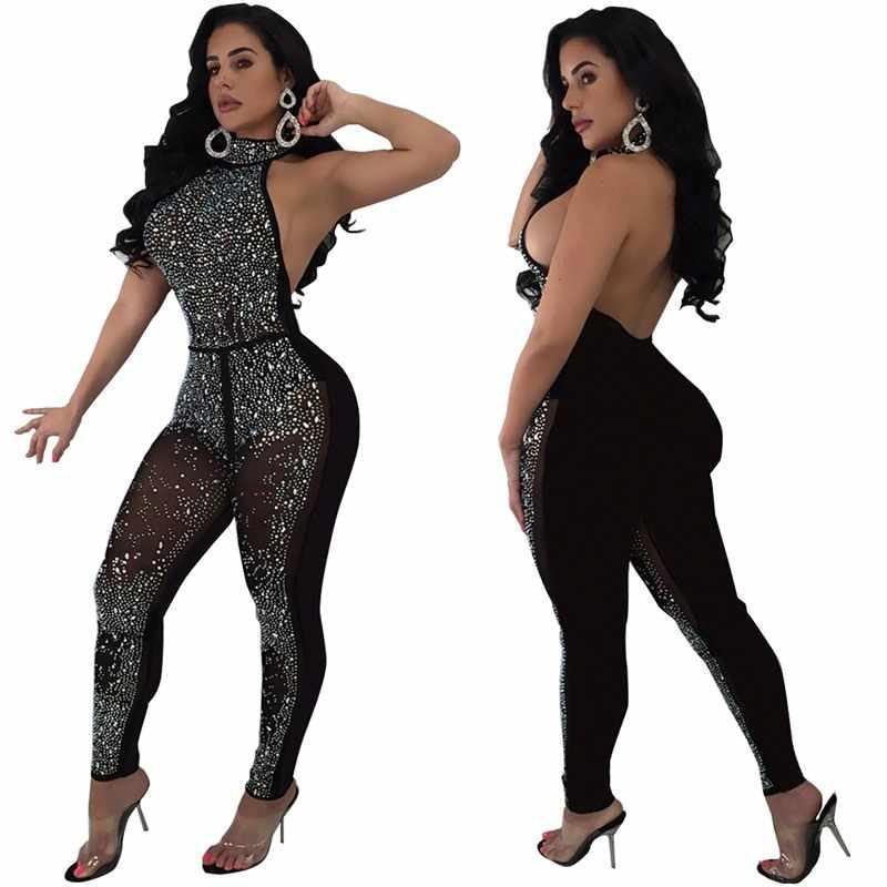 Raisvern черный комбинезон с блестками летний женский Блестящий бретельки, открытая спина вечерние комбинезоны женское платье обтягивающее, Клубная одежда 2019