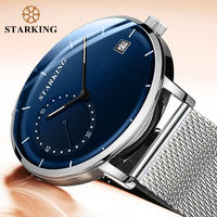 STARKING Dress Men Watch Steel Mesh Band Quartz Analog Wristwatch 3ATM Waterproof Curved Glass Blue Male Clock Relogio Masculino