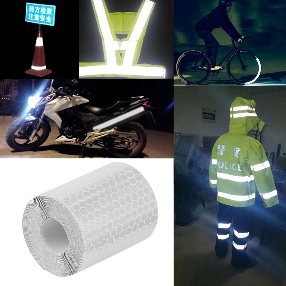 Realistic 5cmx3m Safety Mark Reflective Tape Stickers For Bicycles Frames Motorcycle Self Adhesive Film Warning Tape Reflective Film Reflective Material Roadway Safety