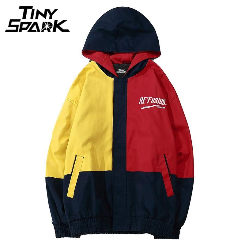 Vintage Color Block Patchwork Hooded Jackets Hip Hop Loose Streetwear Oversize Track Hoodies Jacket Coat Casual Zip 2018 Autumn