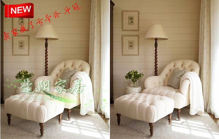 French American fabric Armchair Chair / Living Room Balcony Leisure ...
