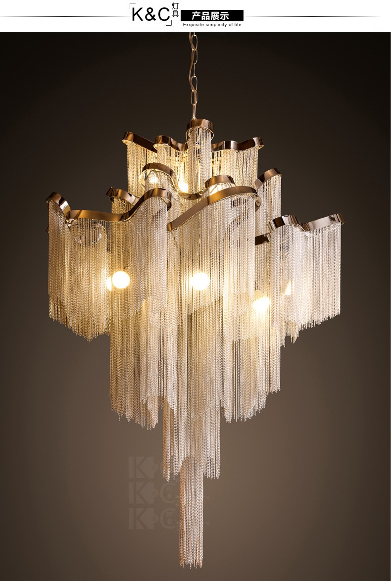 Aluminum tassel design lighting luxury hotel hall lobby atlantis we are a factroy online storeif you have any special requirement or customized itemsplease contact uswe can meet your demands arubaitofo Image collections