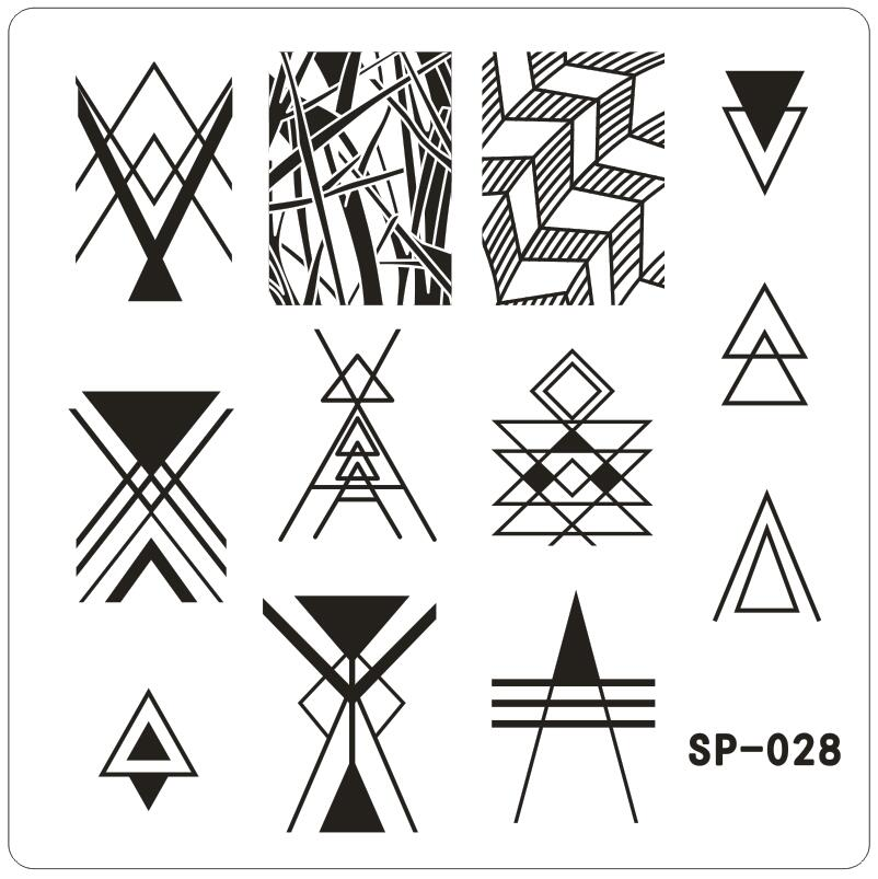 Geometric Triangle Nail Printing Template Stripe Nail Art ...