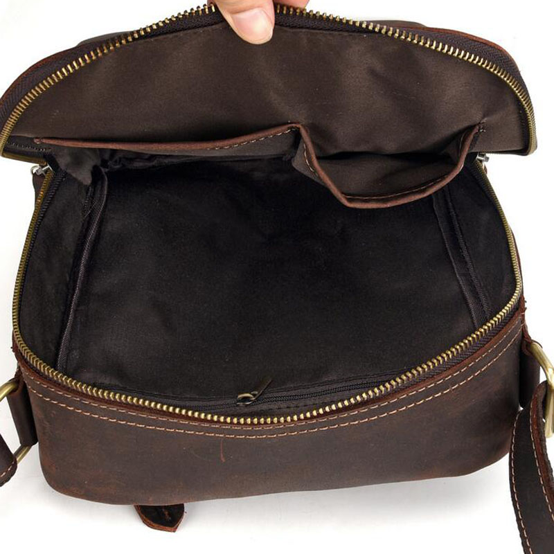 Men Vintage Crazy Horse Cowhide Cross Body Bags Men Messenger Briefcase Brand Trend Vertical High Quality Sling Shoulder Bag - 4
