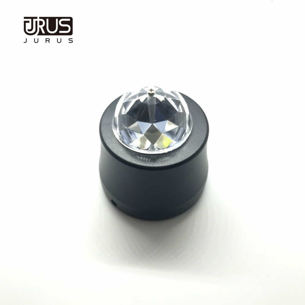 JURUS hot sale car DJ light LED Crystal Rotate light 5V Built in battery KTV party club light Rotating Bulb With USB Interface