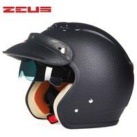 Leather Motorcycle Helmet Retro Cruiser Chopper Open Face Vintage Helmet 38182 Moto Casco Motocicleta Capacete Pilot