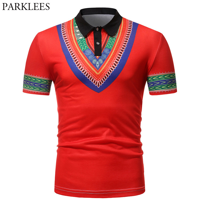 Red Africa Dashiki   Polo   Shirt Men 2018 Summer Short Sleeve   Polo   Homme Casual Slim Fit Brand Men's   Polo   Shirts African Clothes