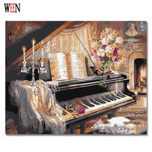 WEEN Picture On Wall Acrylic Piano And Cat Painting Drawing By Numbers Gift DIY Handpainted Canvas oil Coloring By Numbers(China)
