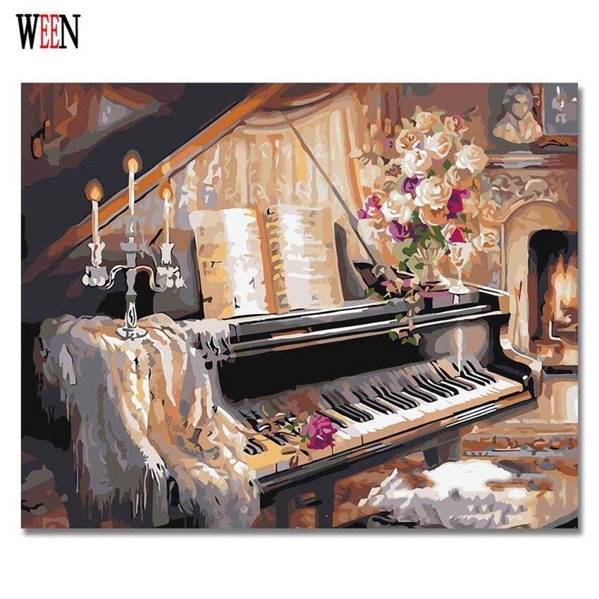 WEEN Εικόνα σε τοίχο Ακρυλικό πιάνο και ζωγραφική γάτας Σχέδιο με αριθμούς Δώρο DIY Χειροποίητο καμβά πετρελαίου Χρωματισμός με αριθμούς