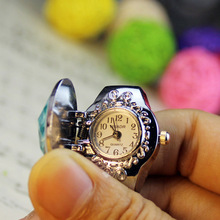New Fashion Women Ring Watch Elliptical Stereo Flower Ladies Clamshell Watches Adjustable Rings Quartz Clock PT